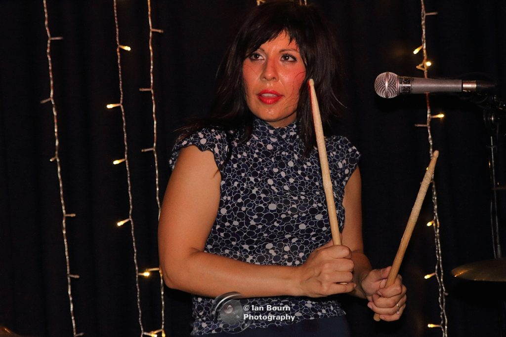 The Schizophonics - drums/vocals Lety Beers: pic by Ian Bourn for Scene Sussex